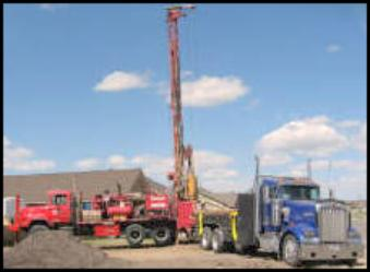 water truck and drilling rig